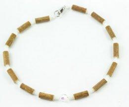 Collier Bébé Noisetier Pendentif cristal Swarovski - 3 billes blanches